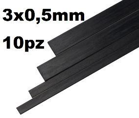 Listelli in carbonio 3x0,5mm 10pz Lunghi 1mt
