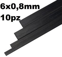 Listelli in carbonio 6x0,8mm 10pz Lunghi 1mt