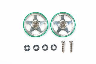 Rotelle 19mm Anello Verde Mini4WD in alluminio a 5 razze