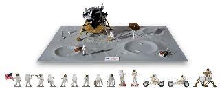 Modulo lunare con 16 astronauti e diorama One small step for man...